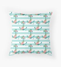 Anchors and flowers Throw Pillow