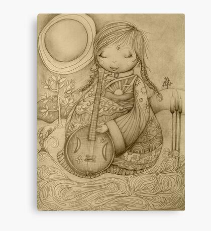 Moon Guitar drawing Canvas Print
