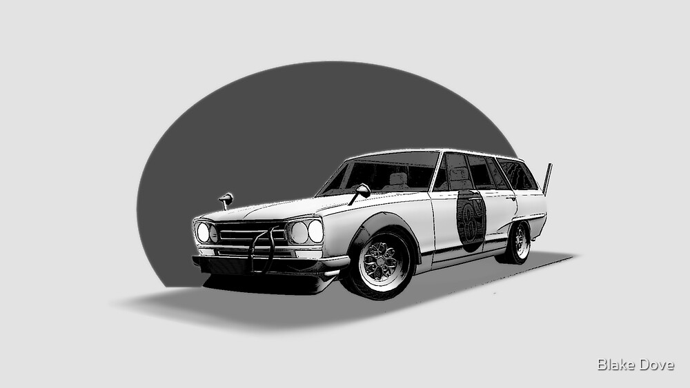 Shakotan Wagon (Black and White) by Blake Dove
