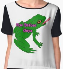 flys before guys frog Chiffon Top