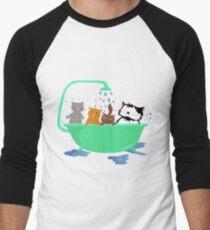Cats in bath Men's Baseball ¾ T-Shirt