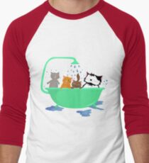 Cats in bath Men's Baseball ¾ T-Shirt