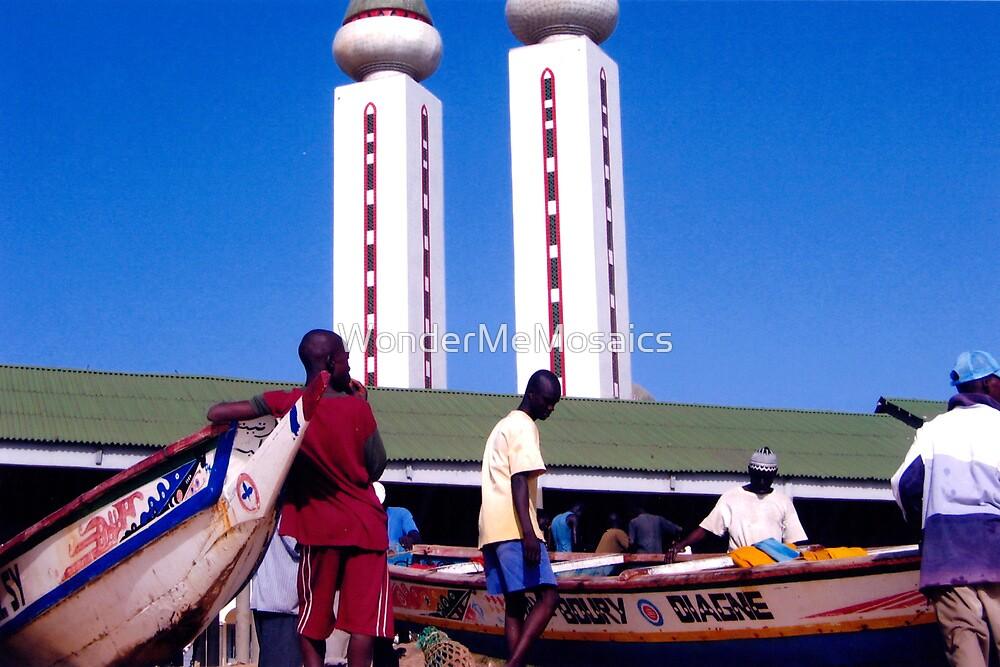 Mosque along the West African coast - Print by WonderMeMosaics