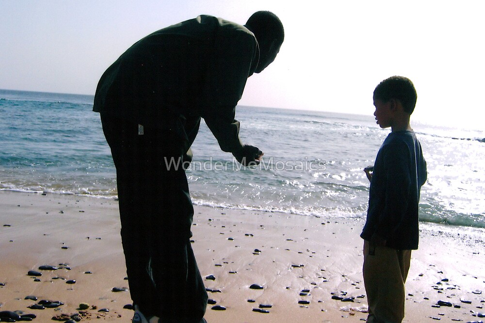Father and son along African beach - Print by WonderMeMosaics