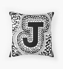 Initial J Black and White Throw Pillow