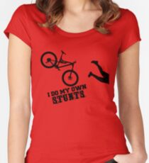 I Do My Own Stunts Funny Mountain Bike Women's Fitted Scoop T-Shirt