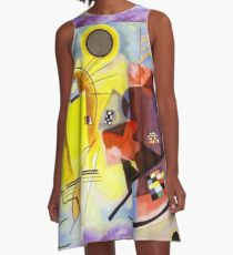 Yellow Red Blue A-Line Dress