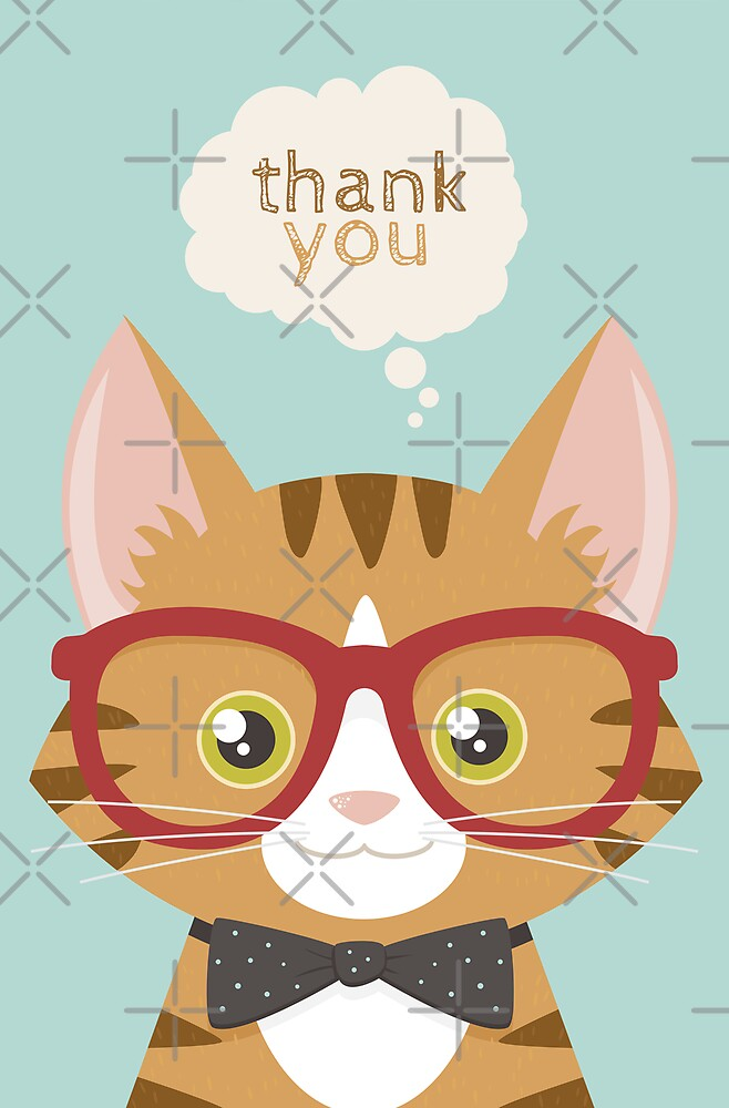 Orange Tabby Hipster Cat (Thank You) by Lisa Marie Robinson