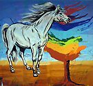 Horse With The Tree of Chakras  by Juhan Rodrik