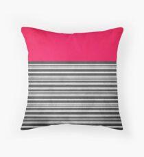 Pink Gray Stripes Throw Pillow