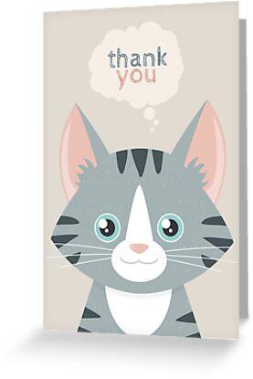 Happy Grey Tabby Cat (Thank You) von Lisa Marie Robinson