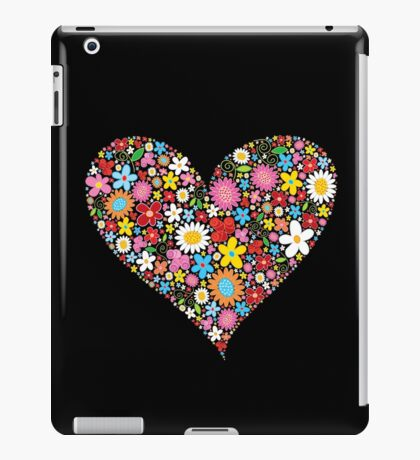Whimsical Spring Flowers Red Valentine Heart iPad Case/Skin