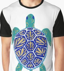 Sea Turtle – Navy & Gold Graphic T-Shirt