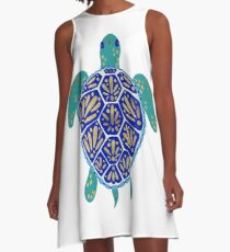 Sea Turtle – Navy & Gold A-Line Dress
