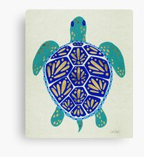 Sea Turtle – Navy & Gold Canvas Print