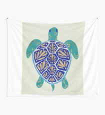 Sea Turtle – Navy & Gold Wall Tapestry