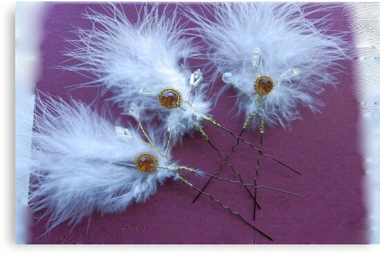 Feathers & beads wedding hair accessories by sarnia2