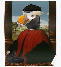 Birders Rule - Tufted Puffin in Red Poster