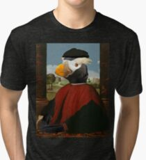 Birders Rule - Tufted Puffin in Red Tri-blend T-Shirt