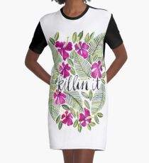Killin' It – Tropical Pink Graphic T-Shirt Dress