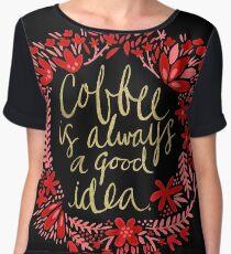 Coffee on Charcoal Women's Chiffon Top