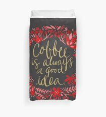 Coffee on Charcoal Duvet Cover