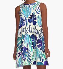 Tropisches Wanderlust - Blau A-Linien Kleid