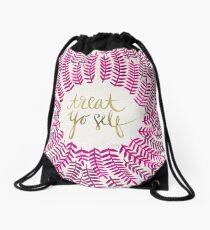 Treat Yo Self – Gold & Pink Drawstring Bag