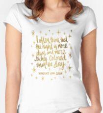 Nachteule - Gold Tailliertes Rundhals-Shirt