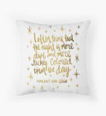 Night Owl – Gold Throw Pillow