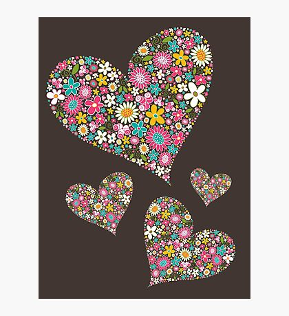 Whimsical Spring Flowers Pink Valentine Hearts Photographic Print