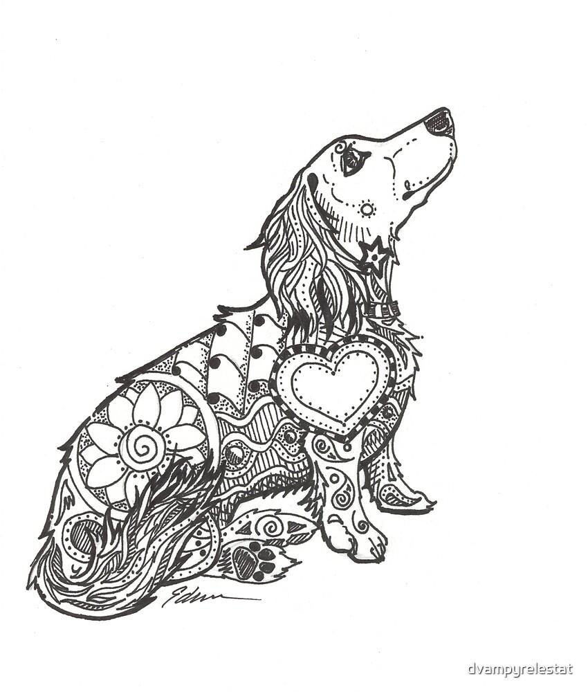 Dachshund Lovers - Doxie Zentangle by dvampyrelestat