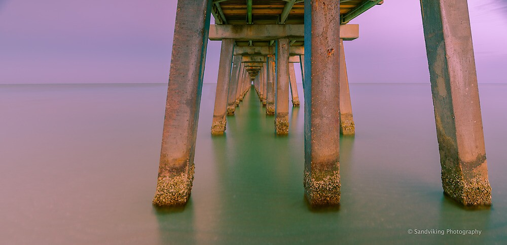 UNDER THE NAPLES PIER- (landscape) by George Trimmer