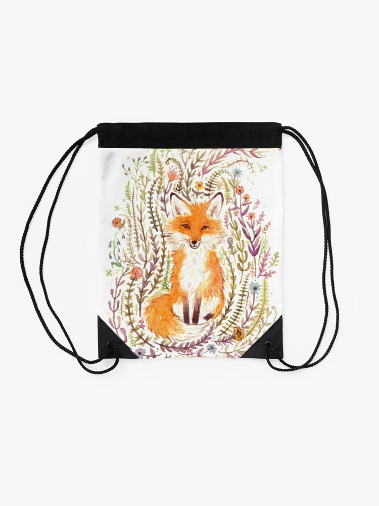 Alternate view of Fox and Flowers II Drawstring Bag