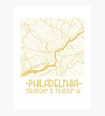 Map of Philadelphia-Gold Photographic Print