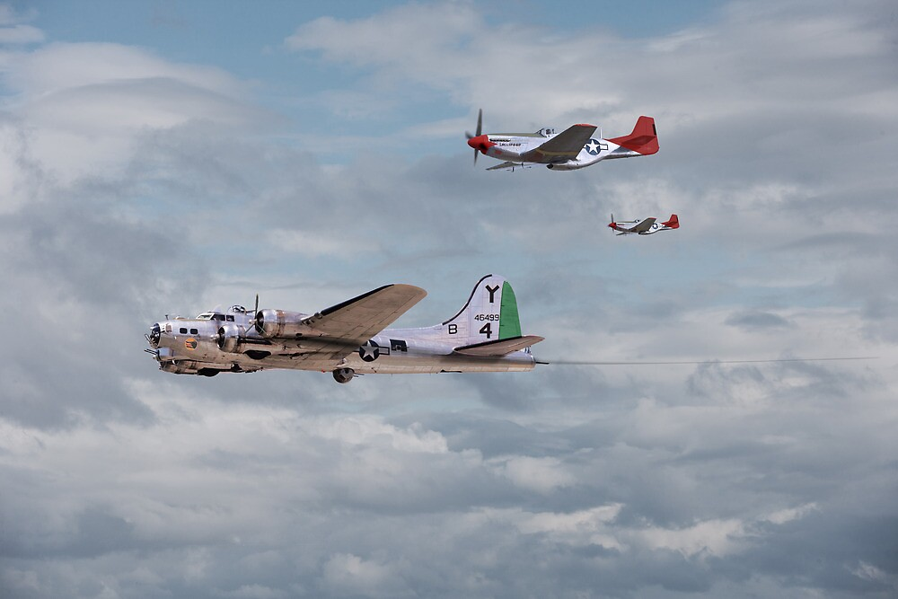 B17and P51 - Red Tails - 'Bringing them Home' by Pat Speirs