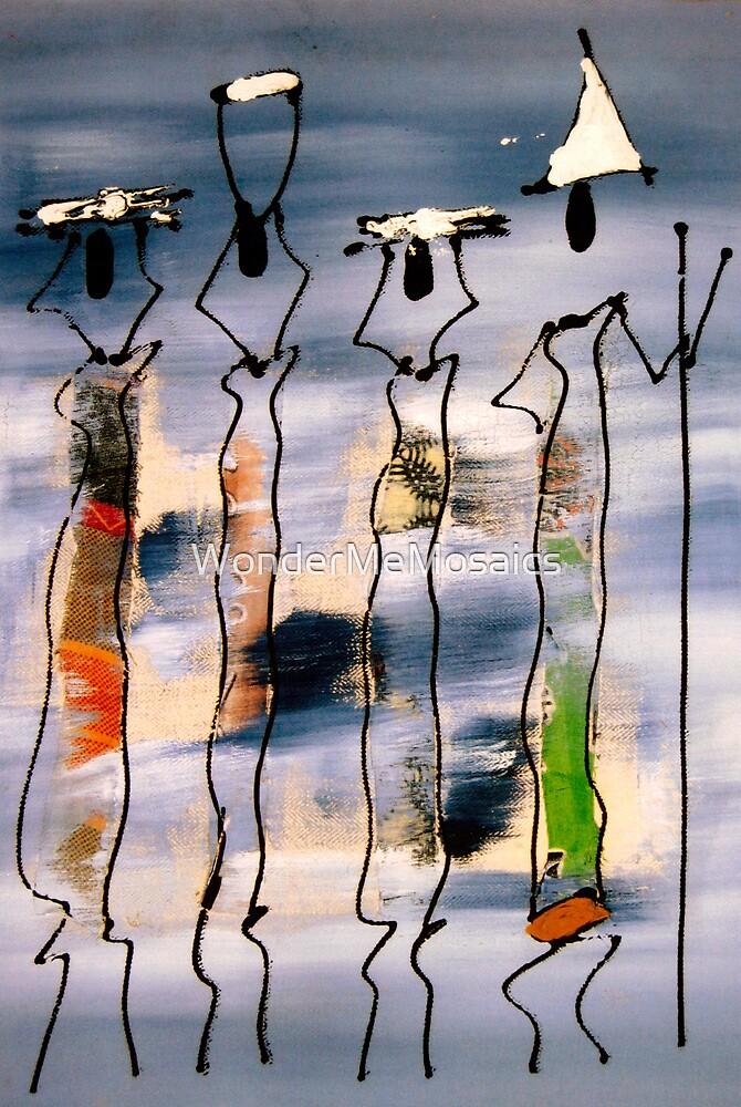African mixed media painting - Print by WonderMeMosaics