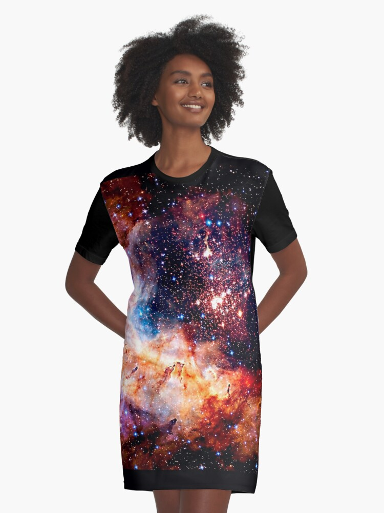 Cosmic Connection, Galaxy, Space, Nebula, Stars, Planet, Universe,  Graphic T-Shirt Dress Front