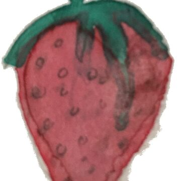 Rosy Red Strawberry Fruit HandPainted Water Color Sticker  by podartist