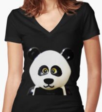 Cute Lego Panda Guy Women's Fitted V-Neck T-Shirt