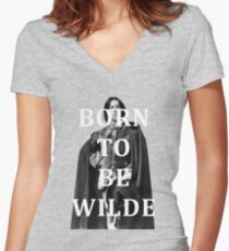 Born To Be Wilde Women's Fitted V-Neck T-Shirt