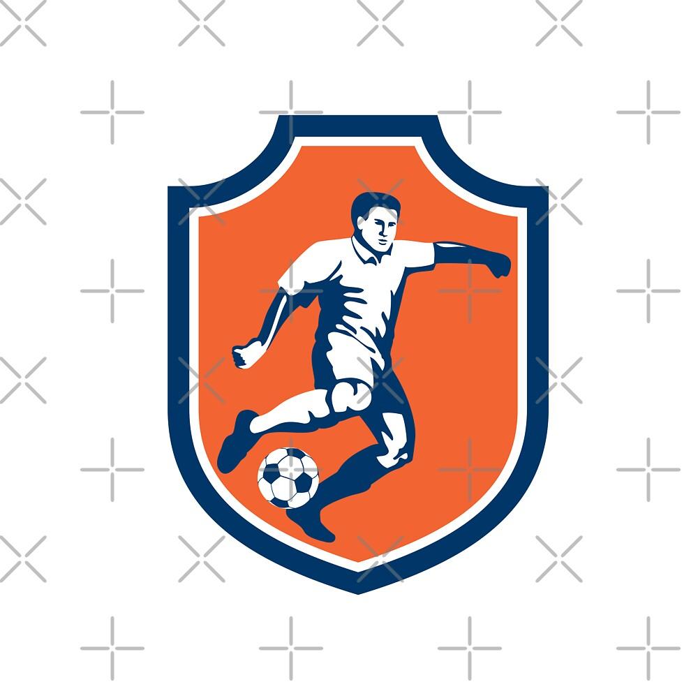 Soccer Player Kicking Ball Shield Retro by patrimonio