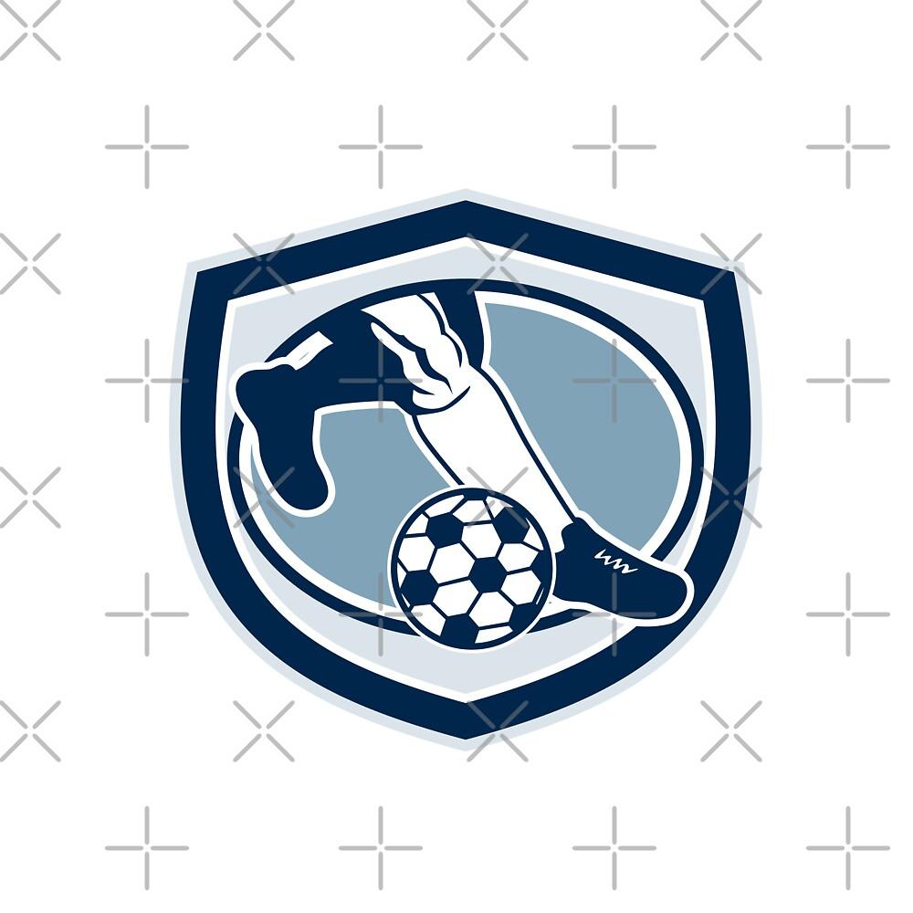 Leg Foot Kicking Soccer Ball Shield Retro by patrimonio