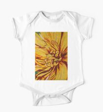 Mesmerizing Golds and Yellows - a Floral Ceramic Tile Mosaic One Piece - Short Sleeve