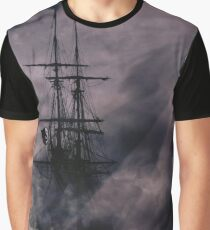 Pirate Ship, Lighthouse and Dark Skies Graphic T-Shirt