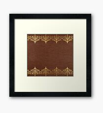 Brown leather texture Gold Lace Border Framed Print