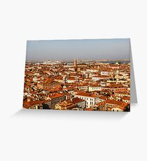 Impressions of Venice - Red Roofs and Cruise Ships Greeting Card