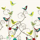 Colorful Whimsical Summer Red, Teal and Yellow Birds with Swirls by fatfatin