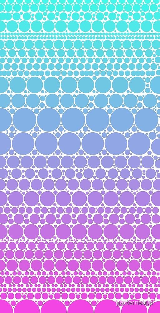 Cyan Gradient Polka Dot Bubble Abstract Pattern by patternsoup