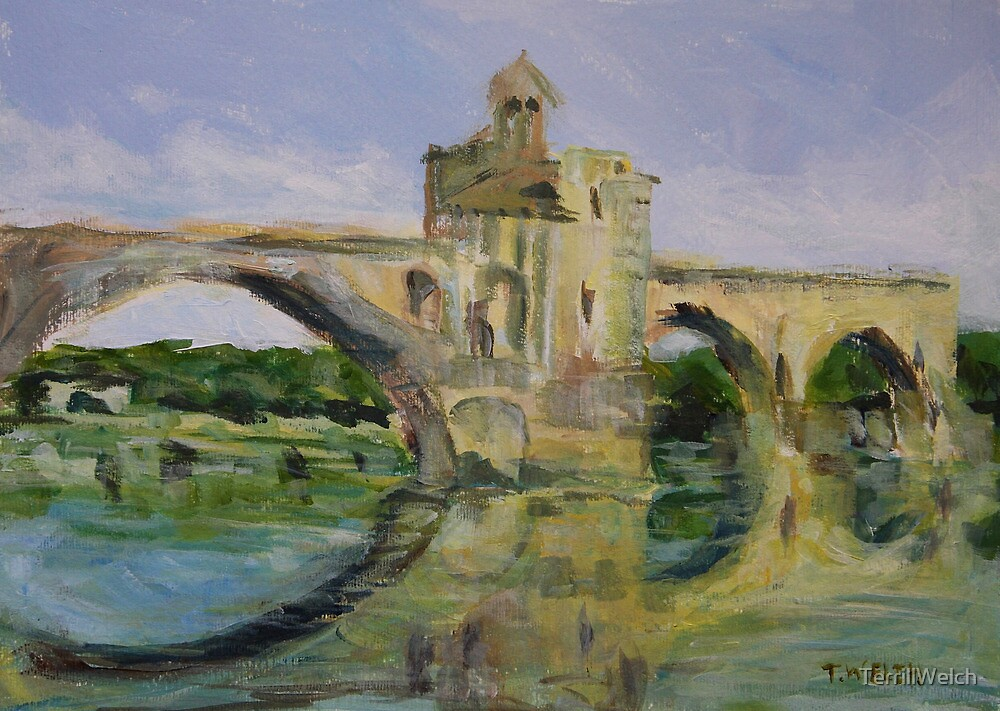 June Morning by Pont D'Avignon by TerrillWelch